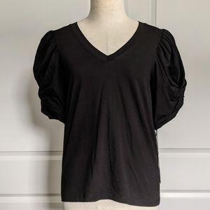 7FAM Twist Sleeve 100% Cotton S/S Tee Black M NWT